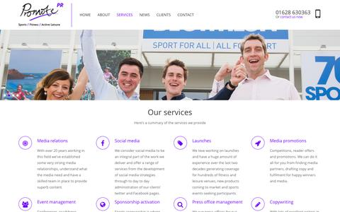 Screenshot of Services Page promotepr.com - Promote Public Relations services - captured Oct. 28, 2014