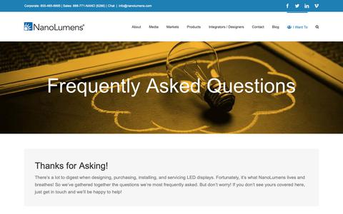 Screenshot of FAQ Page nanolumens.com - Frequently Asked Questions - NanoLumens - captured Feb. 13, 2019