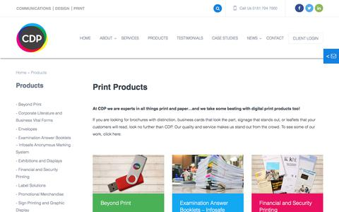 Screenshot of Products Page cdp.co.uk - Print Products from CDP Print Management - Expert Print Procurement : CDP Print Management - captured July 8, 2017