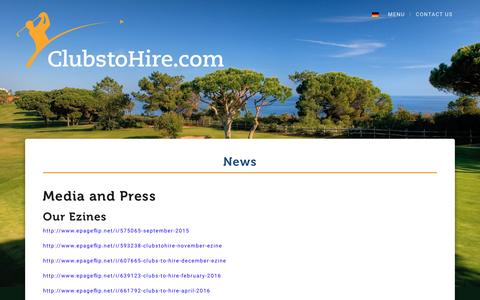Screenshot of Press Page clubstohire.com - Media and Press - Clubs to Hire - captured May 18, 2017