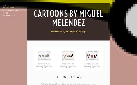 Screenshot of Menu Page cartoonsbymiguelmelendez.com - The Latest — Cartoons by Miguel Melendez - captured Oct. 2, 2014