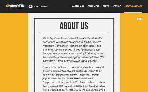 Screenshot of About Page meoi.com - About Us - Martin Equipment - captured Oct. 3, 2014