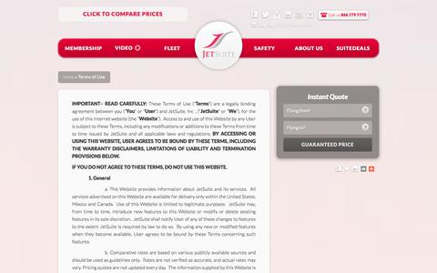 Screenshot of Terms Page jetsuite.com - Terms of Use   JetSuite - captured Dec. 24, 2015