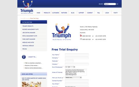 Screenshot of Trial Page triumph.com.au - Free Trial Copy - Triumph Business Systems Pty Ltd - captured Oct. 8, 2014