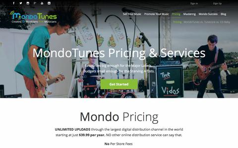Screenshot of Pricing Page mondotunes.com - Services and Pricing | MondoTunes - captured Sept. 21, 2018