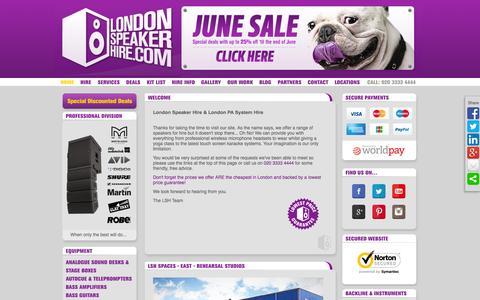 Screenshot of Home Page londonspeakerhire.com - London Speaker Hire & PA Hire London - captured June 22, 2015