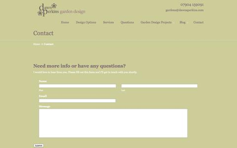 Screenshot of Contact Page dawnaperkins.com - Contact Dawn Perkins for Garden Design   Dawn Perkins Garden Design - captured Oct. 5, 2014