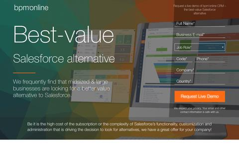 Screenshot of Landing Page bpmonline.com - Salesforce alternative - bpm'online CRM - captured Oct. 21, 2016