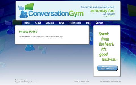 Screenshot of Privacy Page conversationgym.com - Privacy Policy :: Conversation Gym - captured Dec. 12, 2015