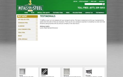 Screenshot of Testimonials Page metalsforasteel.com - Testimonials   MetalsForASteel.com - captured Oct. 27, 2014
