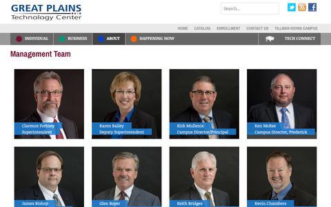 Screenshot of Team Page greatplains.edu - Management Team | GPTECH - captured Sept. 27, 2018