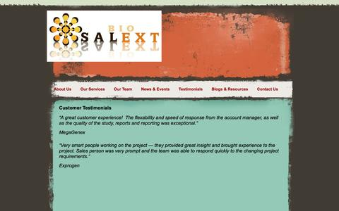 Screenshot of Testimonials Page salextbio.com - CRO  Sales  Marketing  Biotechnology, SALEXT BIO, External Sales Team Testimonials - captured Dec. 20, 2015