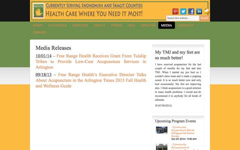 Screenshot of Press Page freerangehealth.org - Media | Free Range Health - captured Oct. 29, 2014
