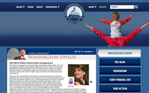 Screenshot of Home Page frc.org - FRC   Pro Marriage & Pro Life Organization in Washington DC - captured Sept. 19, 2014