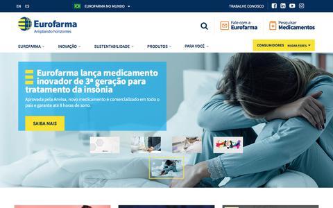 Screenshot of Home Page eurofarma.com.br - Eurofarma | Ampliando horizontes - captured July 8, 2019