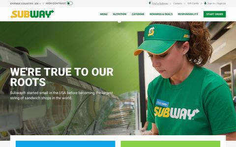 Screenshot of About Page subway.com - About us | SUBWAY.com - United States (English) - captured March 26, 2019