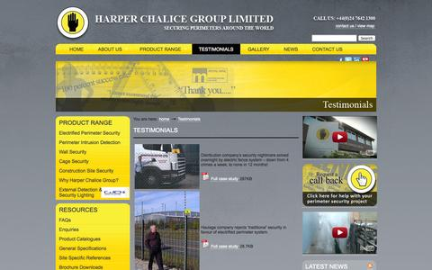 Screenshot of Testimonials Page harperchalice.com - Perimeter Security, Protection, Intruder Detection - captured Oct. 2, 2014