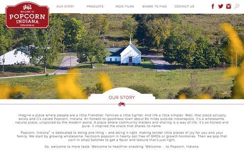 Screenshot of FAQ Page popcornindiana.com - Our Story | Popcorn, Indiana - captured May 19, 2017
