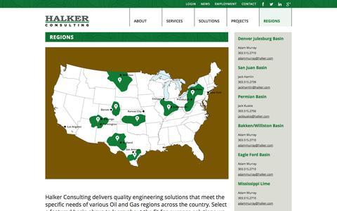 Screenshot of Locations Page halker.com - Regions | Halker Consulting - captured Oct. 1, 2014