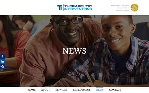 Screenshot of Press Page therapeuticinterventions.com - News - Therapeutic Interventions - captured Sept. 25, 2018