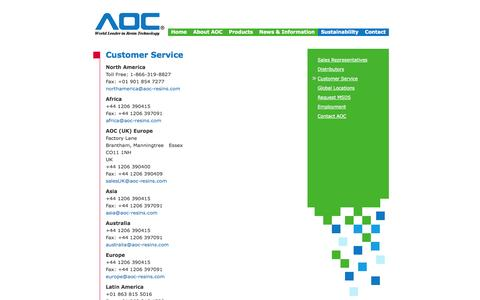 Screenshot of Support Page aoc-resins.com - AOC Resins :: Contact Us :: Customer Service Locations - captured Oct. 4, 2014