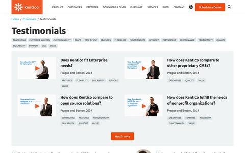 Screenshot of Testimonials Page kentico.com - Testimonials   Kentico CMS for ASP.NET - captured July 3, 2017