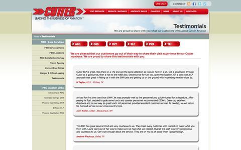 Screenshot of Testimonials Page cutteraviation.com - Testimonials | Cutter Aviation - captured Sept. 30, 2014
