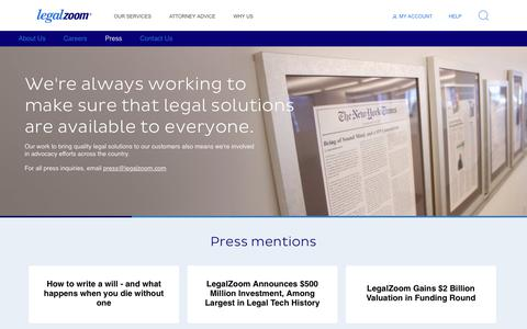 Screenshot of Press Page legalzoom.com - Press Center | legalzoom.com - captured Sept. 13, 2018
