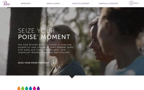 Screenshot of Home Page poise.com - Poise® Bladder Leakage Pads, Liners & Community Support - captured Oct. 28, 2017