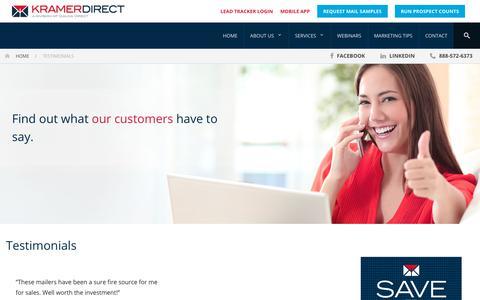Screenshot of Testimonials Page kramerdirect.com - Testimonials   Kramer Direct - captured Sept. 20, 2018