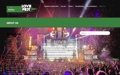 Screenshot of About Page lovefest.rs - About us | Lovefest 2014 - Love Island - captured Sept. 19, 2014
