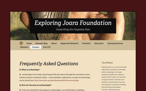 Screenshot of FAQ Page exploringjoara.org - Frequently Asked Questions « Exploring Joara Foundation - captured Jan. 22, 2017