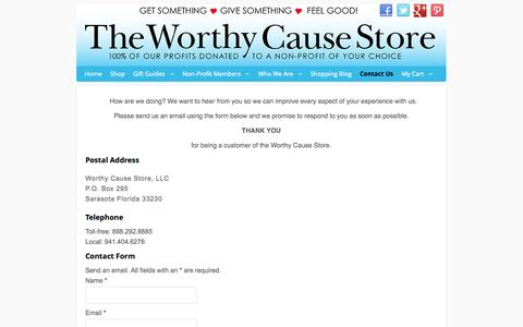 Screenshot of Contact Page worthycausestore.com - Contact Us - captured Nov. 5, 2014