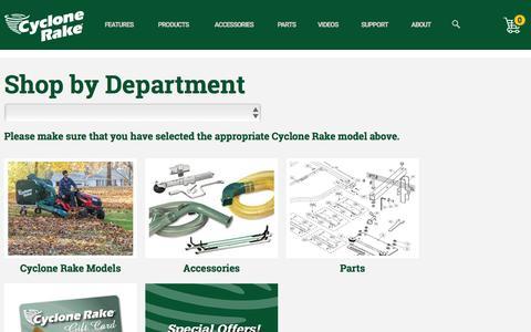 Screenshot of Products Page cyclonerake.com - Shop by Department | Cyclone Rake - captured Feb. 15, 2016