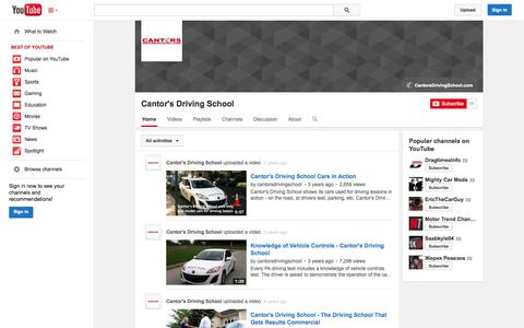 Screenshot of YouTube Page youtube.com - Cantor's Driving School  - YouTube - captured Oct. 22, 2014