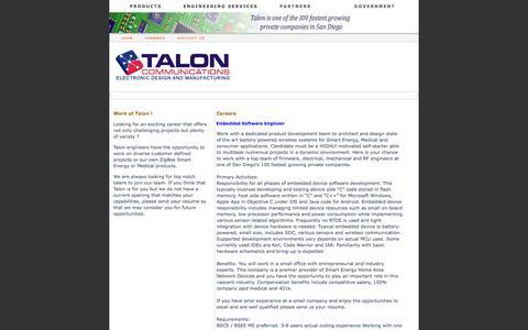 Screenshot of Jobs Page taloncom.com - Talon Communications® - captured Oct. 7, 2014
