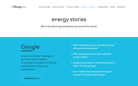 Screenshot of Case Studies Page theenergyproject.com - Discover A Better Way of Working | The Energy Project - captured Oct. 26, 2014