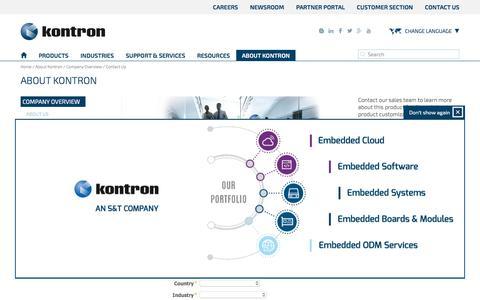 Screenshot of Contact Page kontron.com - Kontron - Contact Us - captured Feb. 10, 2018