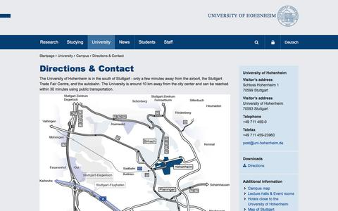 Screenshot of Contact Page Maps & Directions Page uni-hohenheim.de - Directions & Contact: University of Hohenheim - captured Sept. 23, 2016