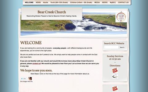 Screenshot of Home Page bearcreekchurch.net - Bear Creek Church | Reconciling Broken People to God to Become Christ's Healing Hands. - captured Oct. 5, 2014