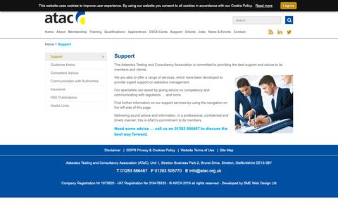 Screenshot of Support Page atac.org.uk - Support services from Asbestos Testing and Consultancy Association - ATaC - captured Oct. 2, 2018