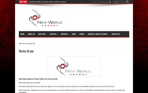 Screenshot of Terms Page newworldagency.com - Terms of use - New World Agency official website | New World Agency is a sports management firm that aims to provide elite athletes with unparalleled professional representation in North America's most competitive and lucrative sporting associations. - captured June 13, 2017