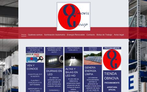 Screenshot of Home Page obnovagroup.com - Obnova Group S.A. de C.V: Productos enfocados a la generación y ahorro de energía - captured Oct. 7, 2014