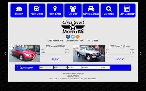 Screenshot of Home Page chrisscottmotors.com - Used Cars Chillicothe OH | Used Cars & Trucks OH | Chris Scott Motors - captured July 21, 2015