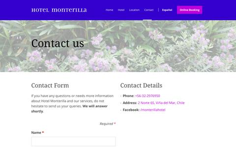 Screenshot of Contact Page monterilla.cl - Contact Hotel Monterilla - captured Sept. 30, 2018