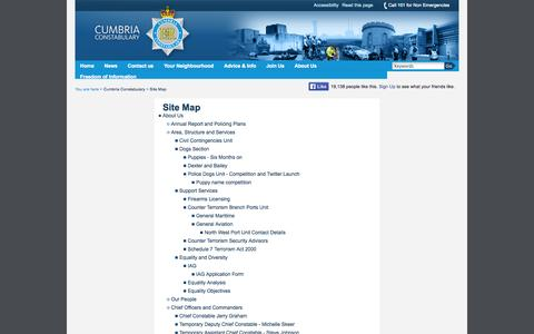 Screenshot of Site Map Page cumbria.police.uk - Site Map - captured Oct. 3, 2014