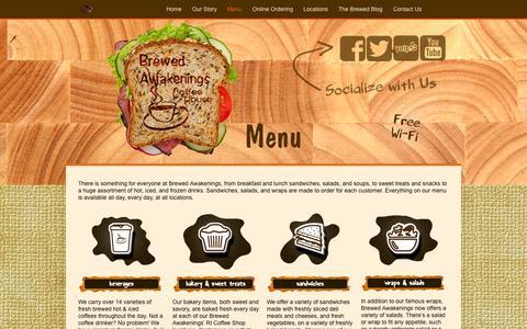 Screenshot of Menu Page brewedcoffeeshop.com - Coffee Shop Menu - Brewed AwakeningsBrewed Awakenings - captured Oct. 5, 2014