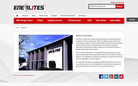 Screenshot of About Page enerlites.com - About  Us - captured Oct. 2, 2014