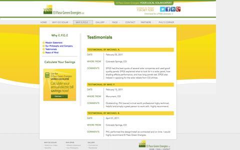 Screenshot of Testimonials Page elpasogreenenergies.com captured Sept. 29, 2014