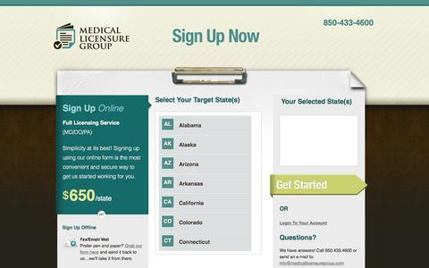 Screenshot of Signup Page medicallicensuregroup.com - Medical License Signup - Physician Licensing - captured Sept. 20, 2018